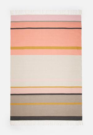 Sixth Floor Colourful Stripe Rug Handwoven Cotton Dhurrie