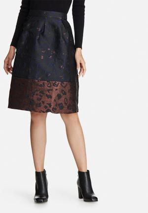 Y.A.S Emma Skirt Black, Bronze & Navy