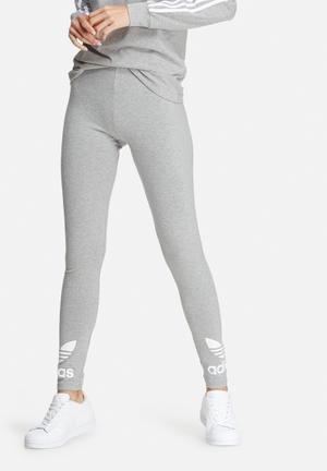 Adidas Originals Trefoil Leggings Bottoms Grey & White