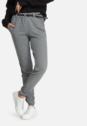 Vero Moda Thea Studded Belt Pants Trousers Grey Melange