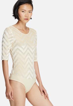 Vero Moda Velvet Chevron Bodysuit T-Shirts, Vests & Camis Ivory
