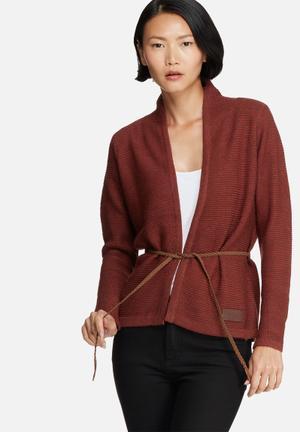 Vero Moda Joya Belt Cardigan Knitwear Burgundy