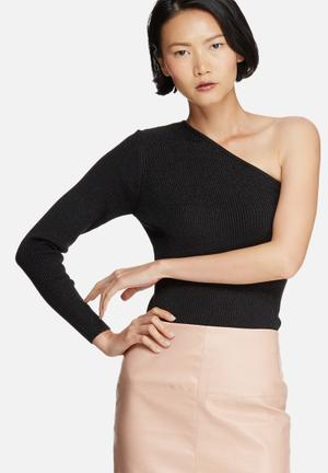 Noisy May Lurry One-shoulder Knit Top T-Shirts, Vests & Camis Black