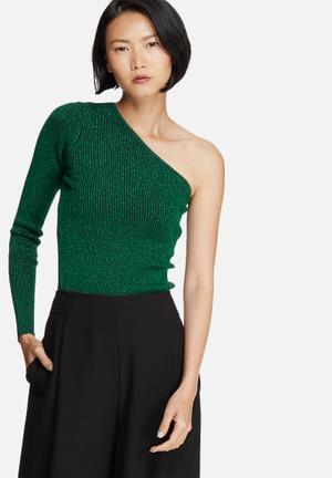 Noisy May Lurry One-shoulder Knit Top T-Shirts, Vests & Camis Green Glitter
