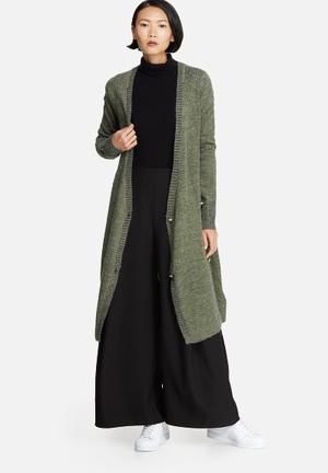 Noisy May Fly Long Knit Cardigan Knitwear Green