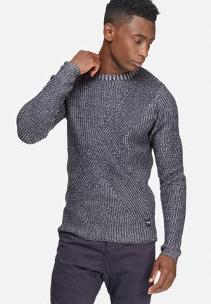 Only & Sons Dane Crew Knit Knitwear Navy & Grey