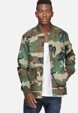Only & Sons Camo Coated Bomber Jackets Brown, Green & Black