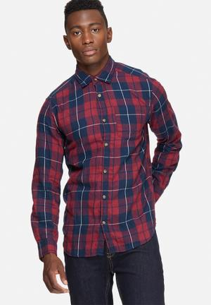 Jack & Jones Originals Christopher Slim Shirt Red & Navy