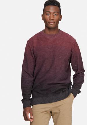 Jack & Jones Originals Grit Crew Sweat Hoodies & Sweatshirts Burgundy Ombre
