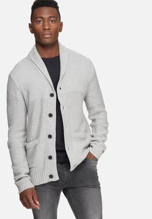 Jack & Jones Originals Anthon Knit Cardigan Knitwear Grey