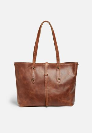FSP Collection Rozel Leather Tote Bags & Purses Dark Tan