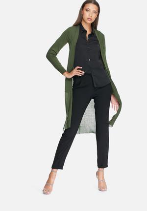 Dailyfriday Irene Maxi Cardigan Knitwear Khaki Green