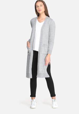 Dailyfriday Kay Maxi Cardigan With Rib Trim Knitwear Grey