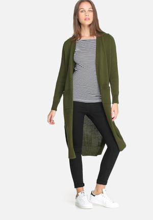 Dailyfriday Kay Maxi Cardigan With Rib Trim Knitwear Green