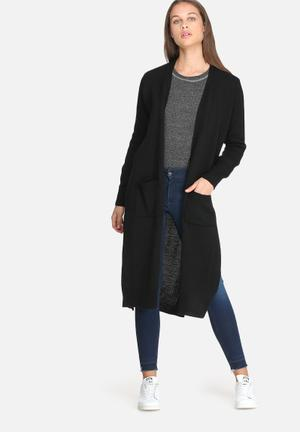 Dailyfriday Kay Maxi Cardigan With Rib Trim Knitwear Black
