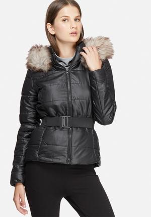 Jacqueline De Yong Isabel Belted Nylon Jacket Black