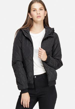 Jacqueline De Yong Oak Quilted Nylon Jacket Black