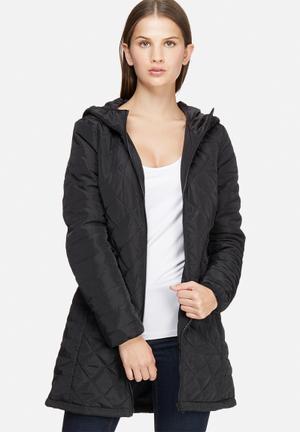Jacqueline De Yong Oak Long Quilted Jacket Black