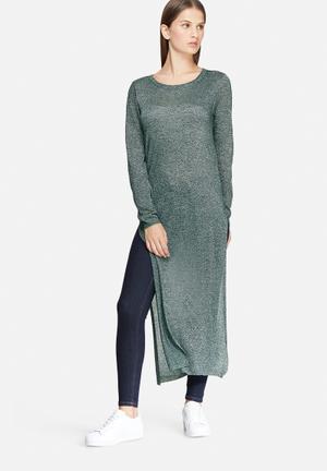 Jacqueline De Yong Colada Long Glitter Top Blouses Green & Black Glitter