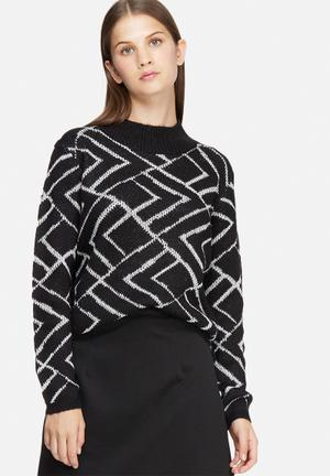 Jacqueline De Yong Alabama Sweater Knitwear Black & White