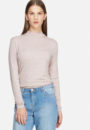 Jacqueline De Yong Spirit Stripe Roll Neck Knitwear Light Pink & Grey