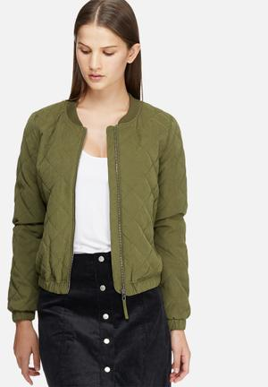 Jacqueline De Yong New Treasure Quilted Bomber Jackets Green