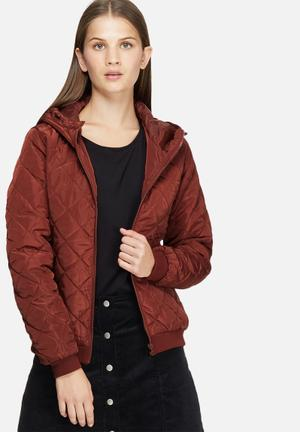 Jacqueline De Yong Oak Quilted Nylon Jacket Burgundy