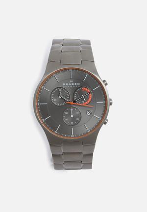 Skagen Balder Watches Silver, Black & Orange