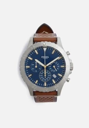 Fossil Crewmaster Watches Brown, Blue & Silver