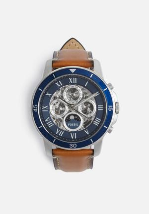 Fossil Grant Sport Automatic Watches Brown, Blue & Silver