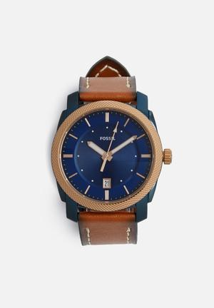 Fossil Machine Watches Brown, Blue & Gold