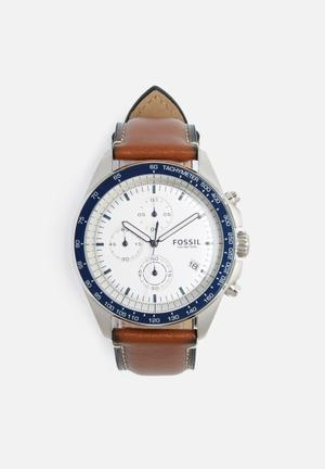Fossil Sport 54 Watches Brown, Blue, Silver & White