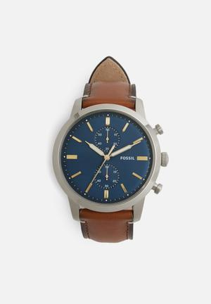 Fossil Townsman Watches Brown, Blue & Silver
