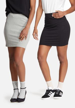 Dailyfriday Mini Skirt 2 Pack Black & Grey