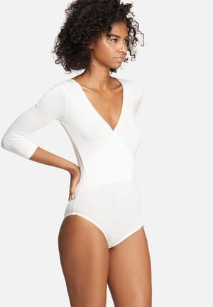 Dailyfriday Wrap V-neck Bodysuit T-Shirts, Vests & Camis White
