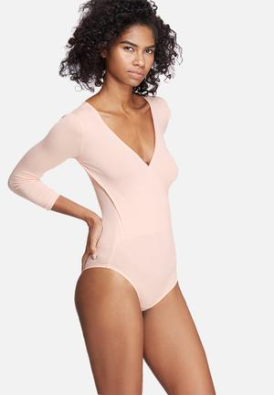Dailyfriday Wrap V-neck Bodysuit T-Shirts, Vests & Camis Pink