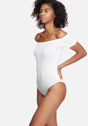 Dailyfriday Off Shoulder Bodysuit T-Shirts, Vests & Camis White