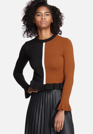 Dailyfriday Colourblocked Jersey Knitwear Black, Tan & White