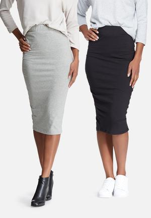 Dailyfriday Midi Pencil Skirt 2 Pack Black & Grey