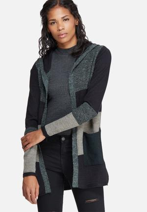 ONLY New Jax Hood Cardigan Knitwear Black, Green & Grey
