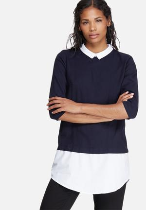 ONLY Saki Mix Long Top Shirts Navy & White
