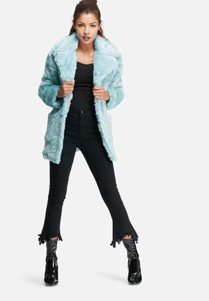 Glamorous Teddy Faux Fur Coat Jackets Light Blue
