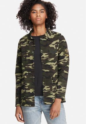 Vero Moda Marilyn Camo Jacket Green, Black & Brown