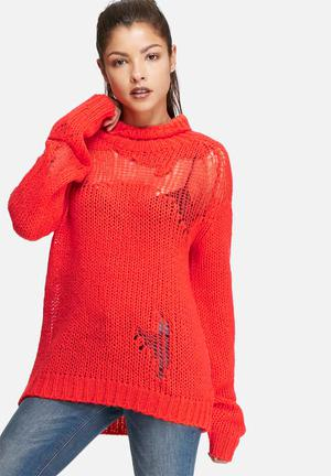 Glamorous Distressed Knit Knitwear Cherry