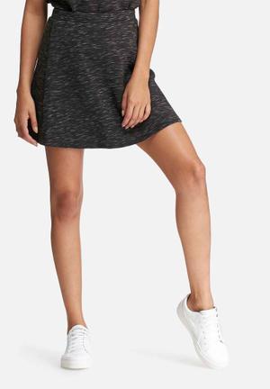 Glamorous Scuba Skirt Black Melange