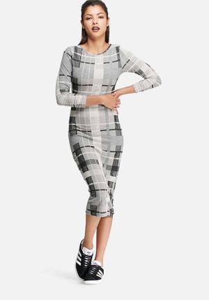 Glamorous Bodycon Midi Dress Formal Grey, Black & White