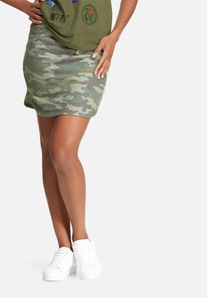 Vero Moda Camo Skirt Green, Blue & Grey
