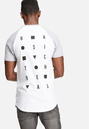 Basicthread Graphic Raglan Tee T-Shirts & Vests White, Grey & Black