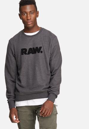 G-Star RAW Hodin Sherland Sweat Hoodies & Sweatshirts Charcoal & Black