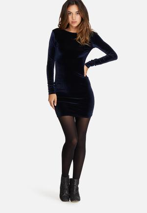 Missguided Low Back Velvet Long Sleeve Bodycon Dress Occasion Navy